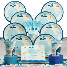 Lil' Spout Blue Baby Shower Deluxe Tableware Kit (Serves 8)