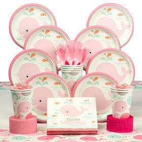 Lil' Spout Pink Baby Shower Deluxe Tableware Kit (Serves 8)