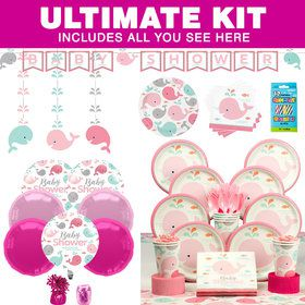 Lil' Spout Pink Baby Shower Ultimate Tableware Kit (Serves 8)