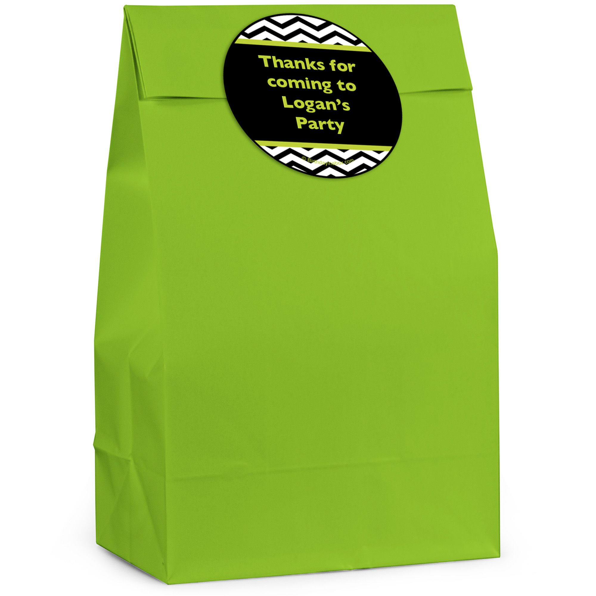 Lime/Black Birthday Chevron Personalized Favor Bag (12 Pack) - Party Supplies BB328FB