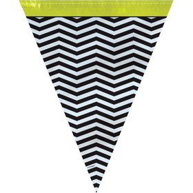 Lime/Black Chevron 12' Flag Banner Decoration (Each)