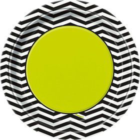 "Lime/Black Chevron 7"" Cake Plates (8 Pack)"