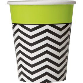 Lime/Black Chevron 9oz Cups (8 Pack)