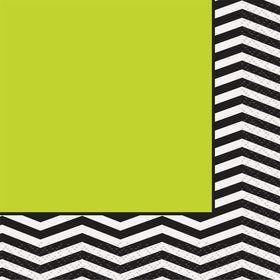 Lime/Black Chevron Beverage Napkins (16 Pack)