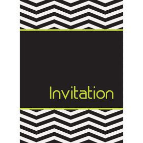 Lime/Black Chevron Invitations (8 Pack)