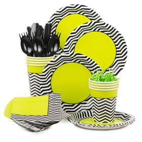 Lime/Black Chevron Party Deluxe Tableware Kit Serves 8