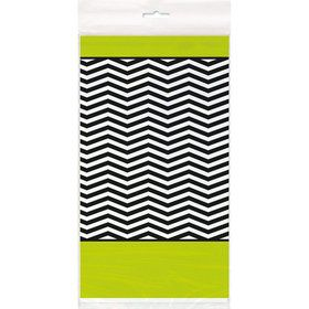 Lime/Black Chevron Plastic Table Cover (Each)