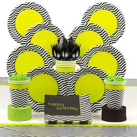 Lime/Black Chevron Standard Tableware Kit Serves 8