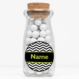 "Lime Chevron Personalized 4"" Glass Milk Jars (Set of 12)"