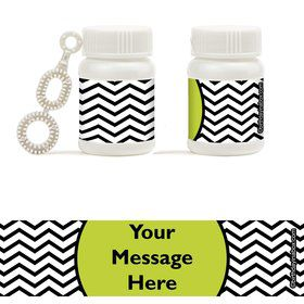 Lime Chevron Personalized Bubbles (18 Pack)