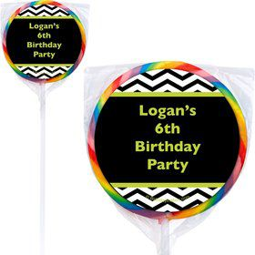 Lime Chevron Personalized Lollipops (12 Pack)