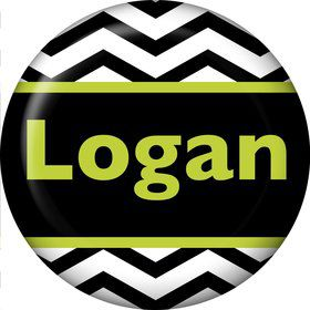 Lime Chevron Personalized Mini Magnet (Each)
