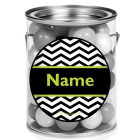 Lime Chevron Personalized Mini Paint Cans (12 Count)