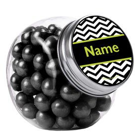Lime Chevron Personalized Plain Glass Jars (10 Count)