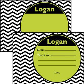Lime Chevron Personalized Thank You Note (Each)