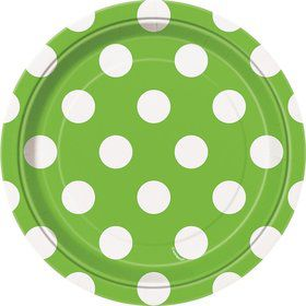 "Lime Dots 7"" Cake Plates (8 Pack)"