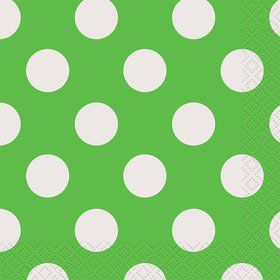 Lime Dots Beverage Napkins (16 Count)