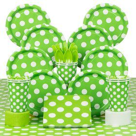Lime Dots Deluxe Tableware Kit Serves 8