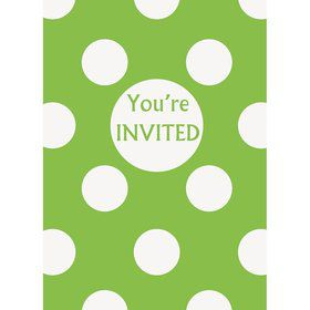 Lime Dots Invitations (8 Pack)