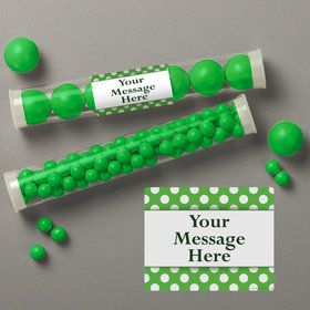 Lime Dots Personalized Candy Tubes (12 Count)