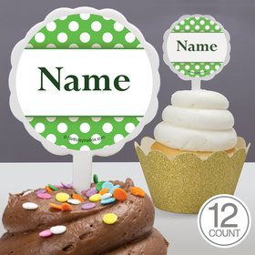 Lime Dots Personalized Cupcake Picks (12 Count)