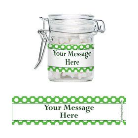 Lime Dots Personalized Glass Apothecary Jars (10 Count)