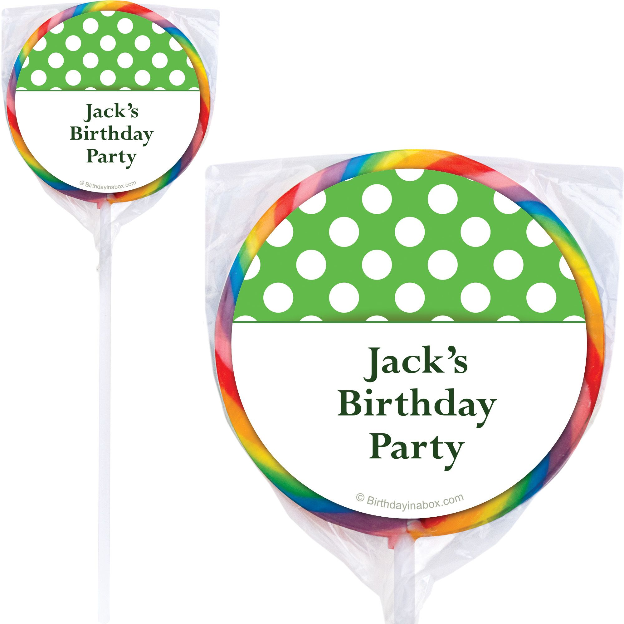 Lime Dots Personalized Lollipops (12 Pack) BB1428PP-P