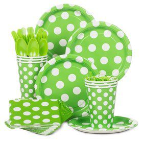 Lime Dots Standard Tableware Kit Serves 8