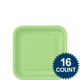 "Lime Green 7"" Square Cake Plates (16 Pack)"