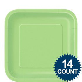 "Lime Green 9"" Square Luncheon Plates (14 Pack)"