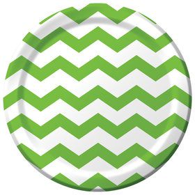 "Lime Green Chevron 9"" Luncheon Plate (8 Count)"