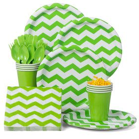 Lime Green Chevron Standard Party Tableware Kit (Serves 8)