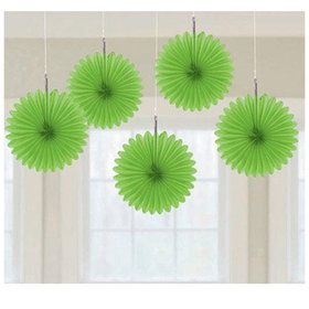 Lime Green Mini Hanging Fan Decorations