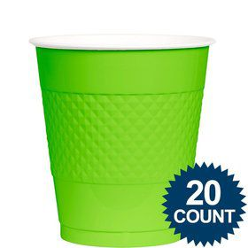Lime Plastic Cups, 12 oz.