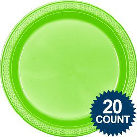 "Lime Plastic Plates, 10"" (20 count)"
