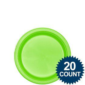 "Lime Plastic Plates, 7"" (20 count)"