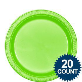 "Lime Plastic Plates, 9"" (20 Count)"