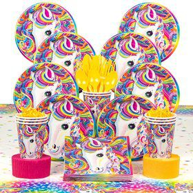 Lisa Frank Neon Pony Birthday Party Deluxe Tableware Kit Serves 8