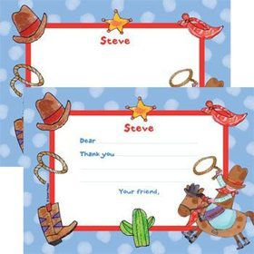 Little Cowboy Party Personalized Thank You Note (each)