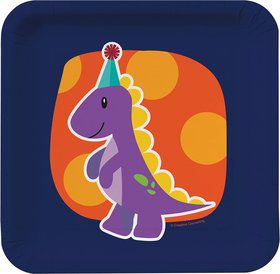 "Little Dino 7"" Cake Plates (8 Pack)"
