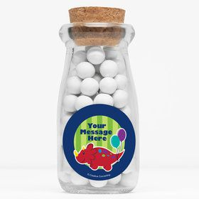 "Little Dino Personalized 4"" Glass Milk Jars (Set of 12)"
