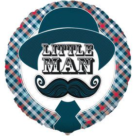 Little Man Mustache Foil Balloon
