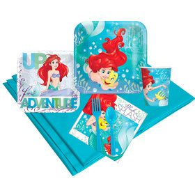 Little Mermaid Birthday Party Deluxe Tableware Kit Serves 8