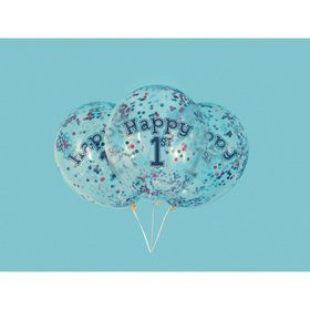 """Little Sailor Nautical First Birthday Clear Latex Balloons with Confetti 12"""", 6ct - Pre-Filled"""