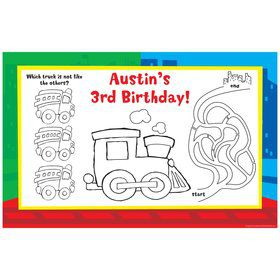 Little Truck Party Personalized Activity Mats (8-Pack)