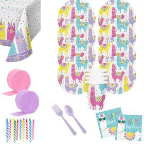 Llama Party Birthday Deluxe Tableware Kit (Serves 8)