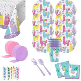 Llama Party Deluxe Tableware Kit with Favor Cup (Serves 8)