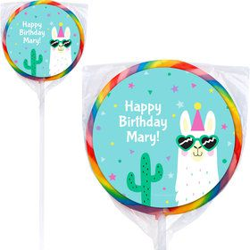Llama Party Personalized Lollipops