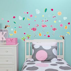 Luau Flamingo Small Wall Decal