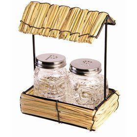 Luau Hula Straw Hut Glass Salt & Pepper Shaker Set